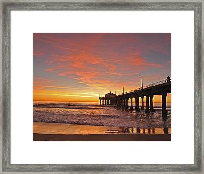 Manhattan Beach Sunset Framed Print