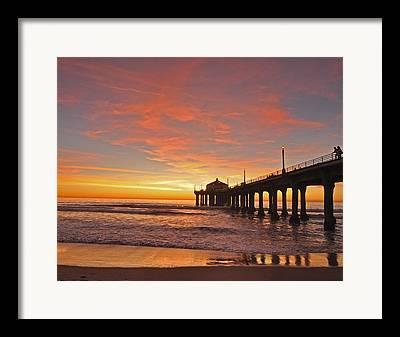 Southern California Sunset Beach Framed Prints