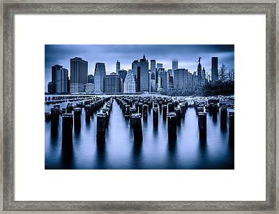 Framed Print featuring the photograph Manhattan Blues by Chris Lord