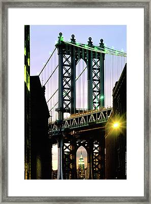 Manhattan Bridge And Empire State Building Framed Print by Mark Ivins