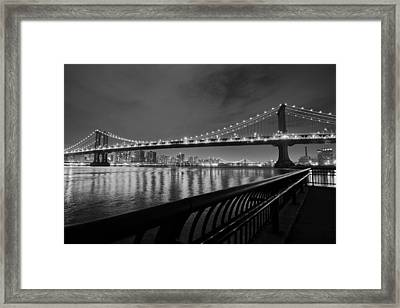 Manhattan Bridge And Williamsburg Bridge Black And White Framed Print by Toby McGuire