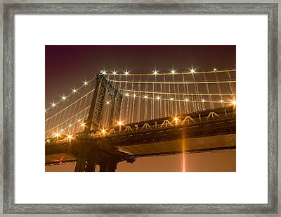 Manhattan Bridge At Night 1 Framed Print