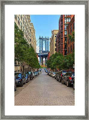 Framed Print featuring the photograph Manhattan Bridge by Emmanuel Panagiotakis