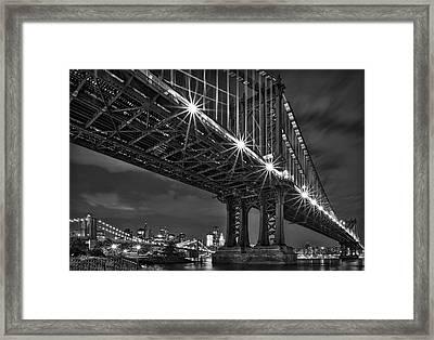 Manhattan Bridge Frames The Brooklyn Bridge Framed Print