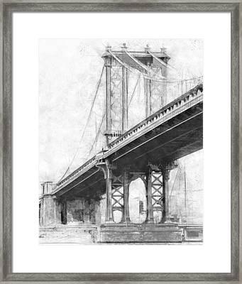Manhattan Bridge Nyc Monotone Framed Print