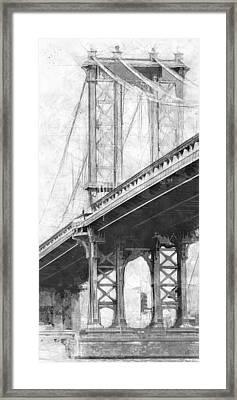 Manhattan Bridge Nyc Tall Bw Framed Print