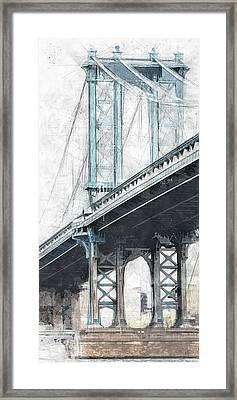 Manhattan Bridge Nyc Tall Framed Print