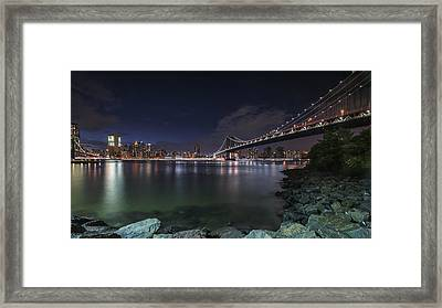 Manhattan Bridge Twinkles At Night Framed Print