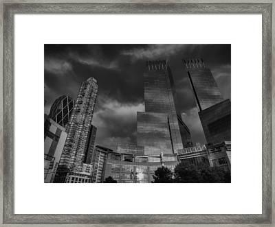 Manhattan - Columbus Circle 001 Bw Framed Print by Lance Vaughn