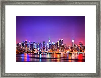 Manhattan Lights Framed Print by Matthias Haker Photography