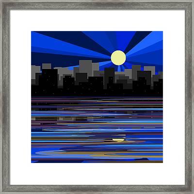 Manhattan Moonrise Framed Print by Val Arie