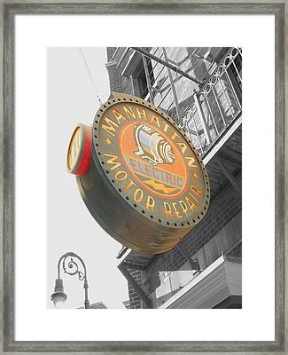 Manhattan Motor Framed Print by Audrey Venute