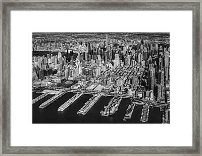 Manhattan New York City Aerial View Bw Framed Print