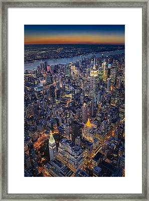 Manhattan New York City From Above Framed Print by Susan Candelario