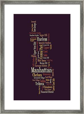 Manhattan New York Typographic Map Framed Print by Michael Tompsett