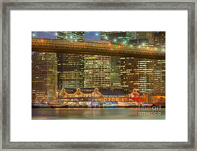 Manhattan Night Skyline I Framed Print