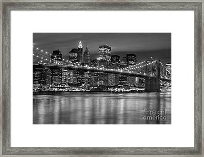 Manhattan Night Skyline Iv Framed Print