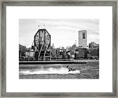 Manhattan Ny - Jet Skiing By Colgate Clock Black And White Framed Print by Susan Savad