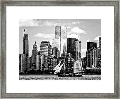 Manhattan Ny - Schooner Seen From Liberty State Park Black And White Framed Print by Susan Savad
