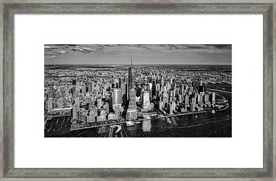 Manhattan Nyc Aerial View Bw Framed Print by Susan Candelario