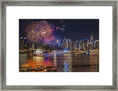 Manhattan Nyc Summer Fireworks Framed Print