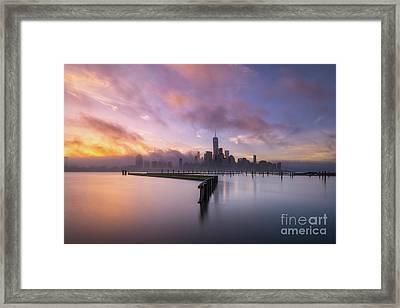 Manhattan On Fire  Framed Print