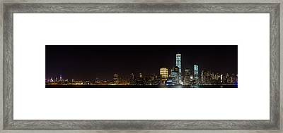 Manhattan Pano From The Hudson Framed Print by Andres Leon