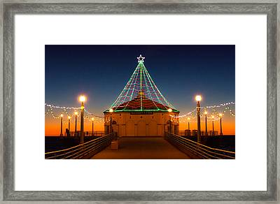 Manhattan Pier Christmas Lights Framed Print