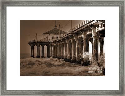 Manhattan Pier Splash Framed Print