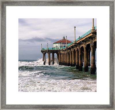 Manhattan Pier Surf Framed Print