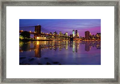 Framed Print featuring the photograph Manhattan Reflection by Mircea Costina Photography