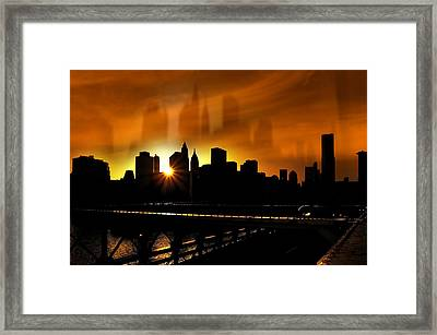 Manhattan Silhouette Framed Print by Svetlana Sewell