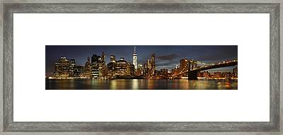 Framed Print featuring the photograph Manhattan Skyline At Night - Panorama by Nathan Rupert