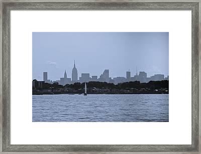Manhattan Skyline From Syc 1 Framed Print by Arthur Sa