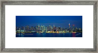 Manhattan Skyline From Weehawken, Nj Framed Print by Panoramic Images