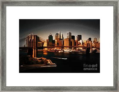 Manhattan Skyline Framed Print by Gull G