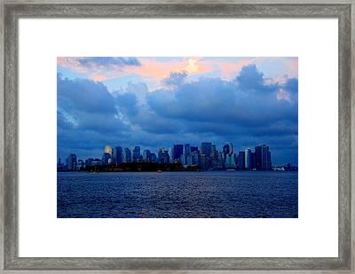 Manhattan Skyline I Framed Print by Fareeha Khawaja