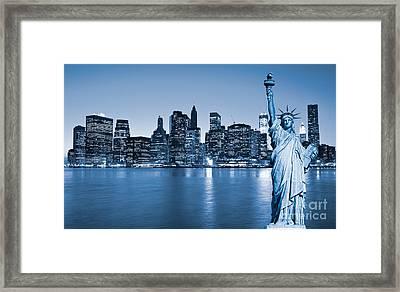 Manhattan Skyline Framed Print by Luciano Mortula