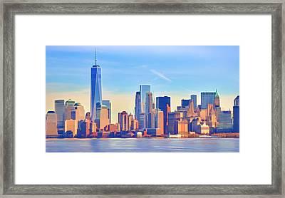 Manhattan Skyline Framed Print by Lutz Baar