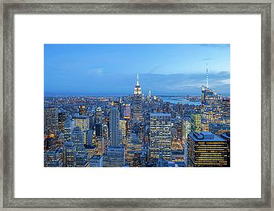 Manhattan Skyline New York City Framed Print by Az Jackson