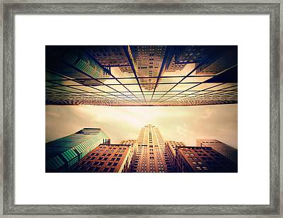 Framed Print featuring the photograph Manhattan Skyline Reflections by Jessica Jenney