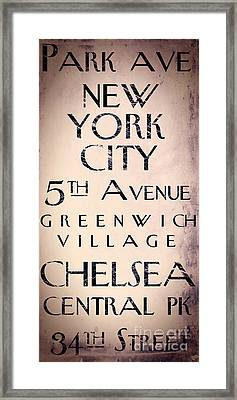Manhattan Street Sign Framed Print by Mindy Sommers