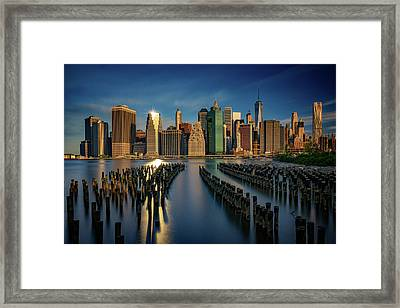 Manhattan Twinkle Framed Print by Rick Berk