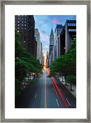 Manhattanhenge From 42nd Street, New York City Framed Print by Andrew C Mace