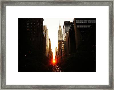 Manhattanhenge Sunset Over The Heart Of New York City Framed Print by Vivienne Gucwa