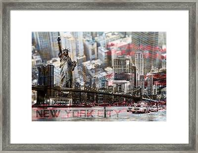 Framed Print featuring the photograph Manhatten From Above by Hannes Cmarits