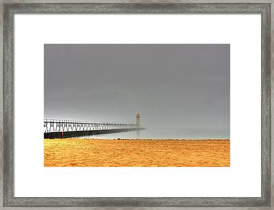 Manistee Light And Fog Framed Print