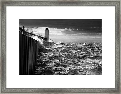 Framed Print featuring the photograph Manistee Pierhead Lighthouse by Fran Riley