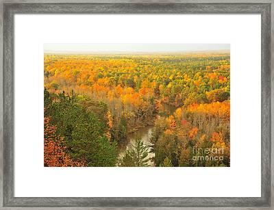 Manistee River Winding Through Autumn Framed Print