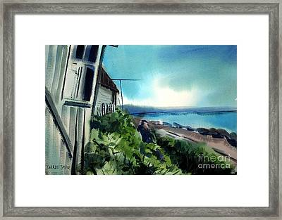 Framed Print featuring the painting Manitoba Fishing Cabin For Rent Matted Framed Glassed by Charlie Spear